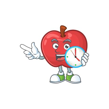 With clock apple fruit character mascot for health dessert vector illustration
