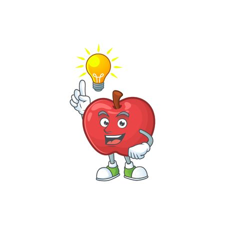 Have an idea cute apple character mascot with object cartoon vector illustration