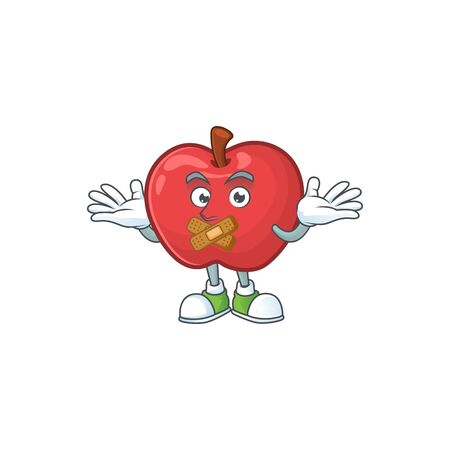 Silent cute apple character mascot with object cartoon vector illustration  イラスト・ベクター素材