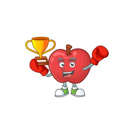 Boxing winner cute apple character mascot with object cartoon vector illustration