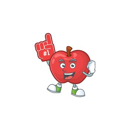 Foam finger cute apple character mascot with object cartoon vector illustration Banque d'images - 129428267