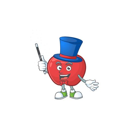 Magician cute apple character mascot with object cartoon vector illustration