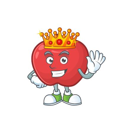 King cute apple character mascot with object cartoon vector illustration