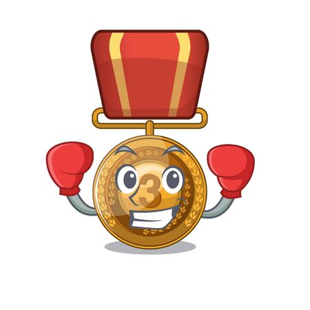 Boxing bronze medal isolated with the mascot