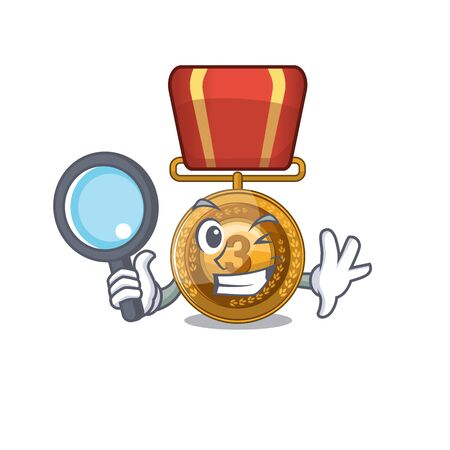 Detective bronze medal cartoon in character cupboard