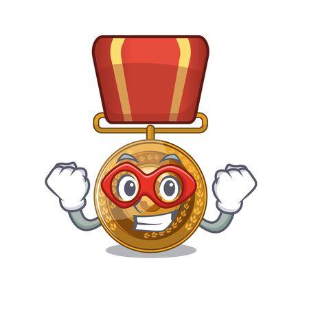 Super hero bronze medal cartoon in character cupboard