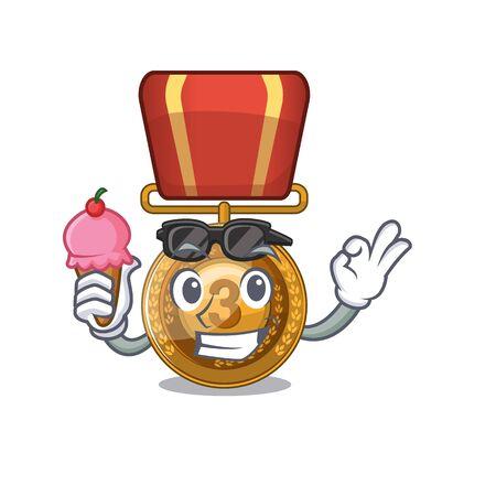 With ice cream bronze medal cartoon in character cupboard Иллюстрация