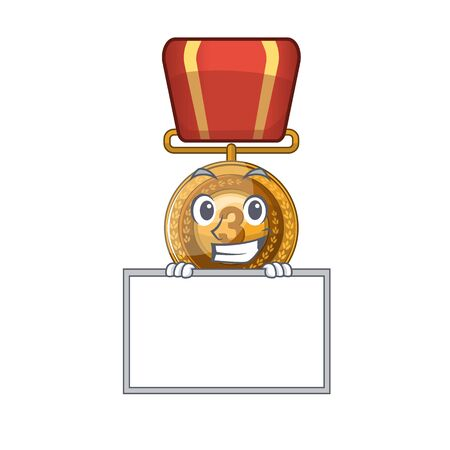 Grinning with board bronze medal isolated with the mascot vector illustration Фото со стока - 129394174