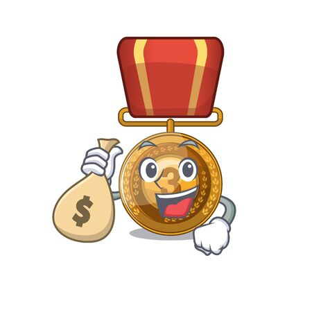 With money bag bronze medal isolated with the mascot