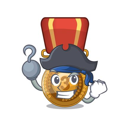 Pirate bronze medal isolated with the mascot Иллюстрация