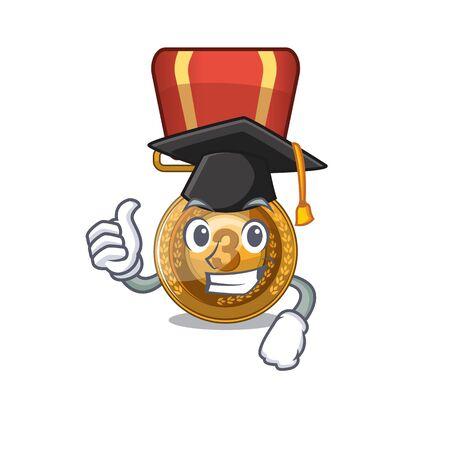 Graduation bronze medal cartoon in character cupboard