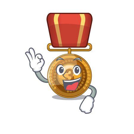 Okay bronze medal cartoon in character cupboard