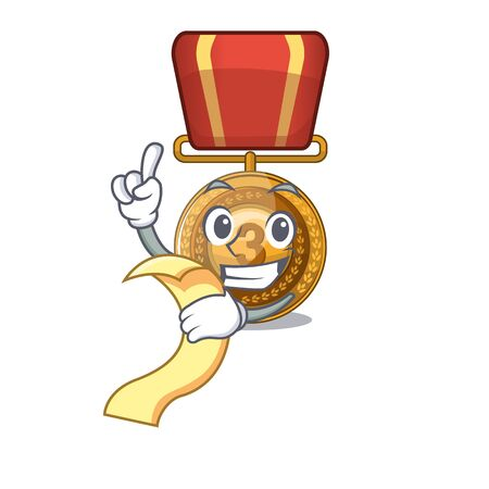 With menu bronze medal with the cartoon shape