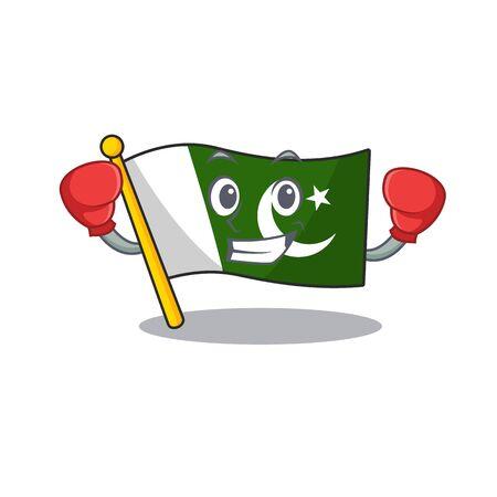 Boxing flag pakistan cartoon hoisted on pole  イラスト・ベクター素材
