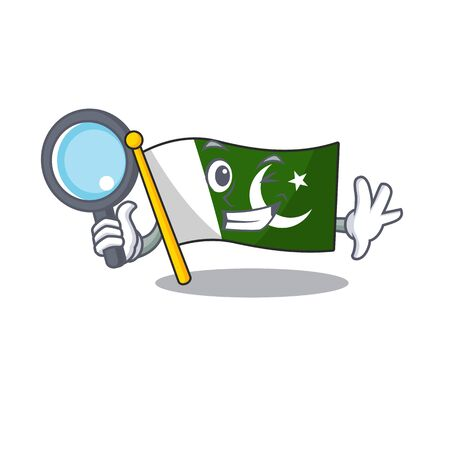 Detective flag pakistan character in shaped mascot Иллюстрация