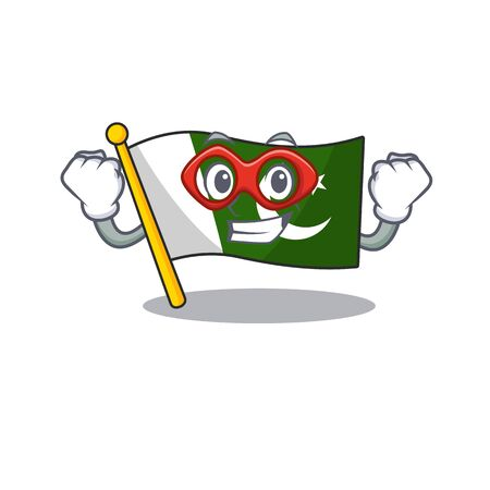 Super hero flag pakistan character in shaped mascot