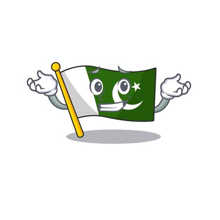 Grinning flag pakistan character in shaped mascot