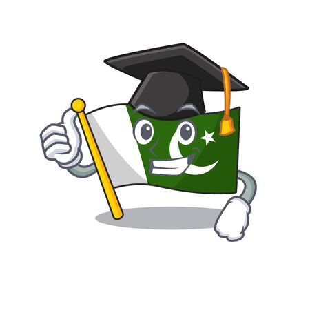 Graduation flag pakistan character in shaped mascot