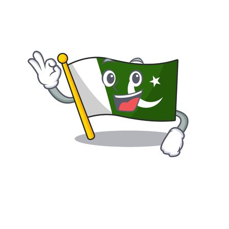 Okay flag pakistan character in shaped mascot
