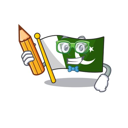 Student flag pakistan character in shaped mascot