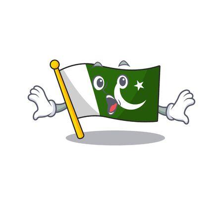 Surprised pakistan mascot flag in cartoon drawer vector illustration Ilustração
