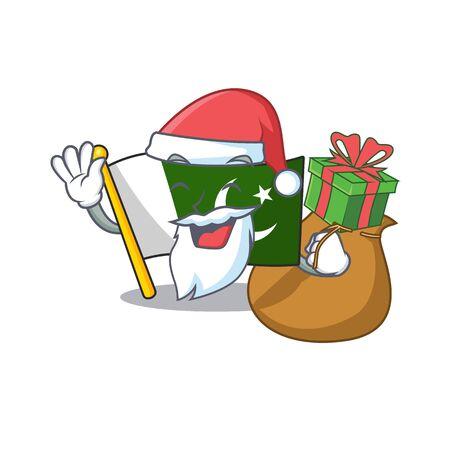 Santa with gift flag pakistan isolated in the cartoon Ilustração