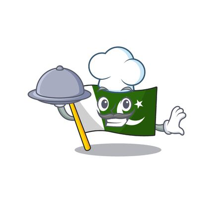 Chef with food pakistan mascot flag in cartoon drawer vector illustration