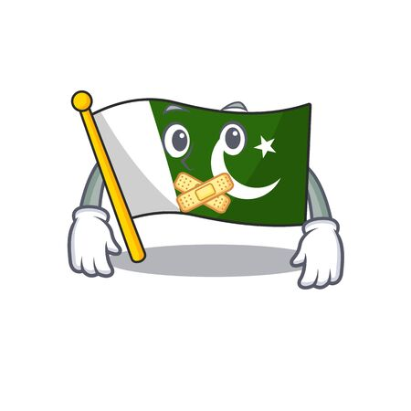 Silent flag pakistan isolated in the cartoon