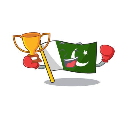 Boxing winner flag pakistan isolated in the cartoon  イラスト・ベクター素材
