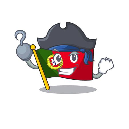 Pirate flag portugal character in shape cartoon vector illustration