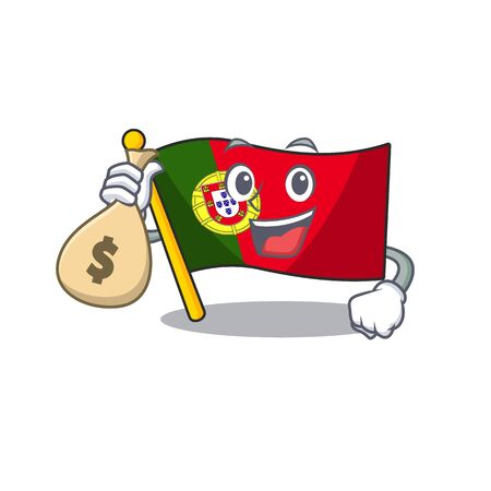 With money bag flag portugal character in shape cartoon