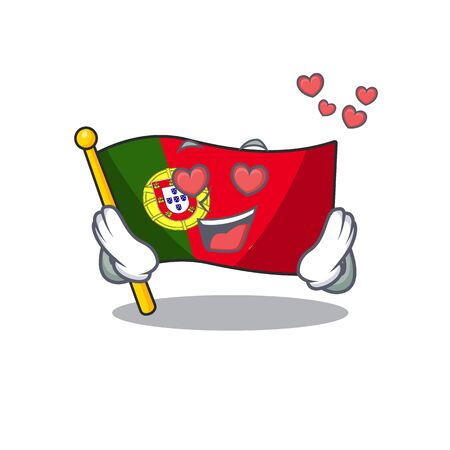 In love flag portugal with the mascot shape vector illustration