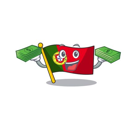 With money flag portugal with the mascot shape