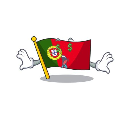 Money eye flag portugal isolated in the character vector illustration