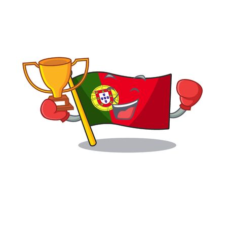 Boxing winner flag portugal isolated in the character