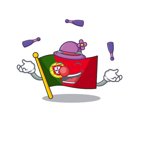 Juggling flag portugal isolated in the character Иллюстрация