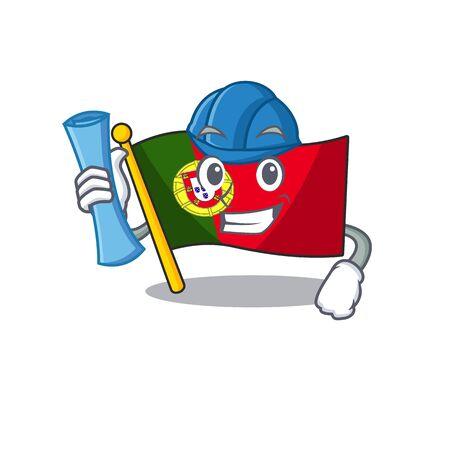 Architect portugal flag folded on cartoon table Иллюстрация