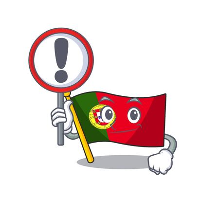 With sign flag portugal character in shape cartoon