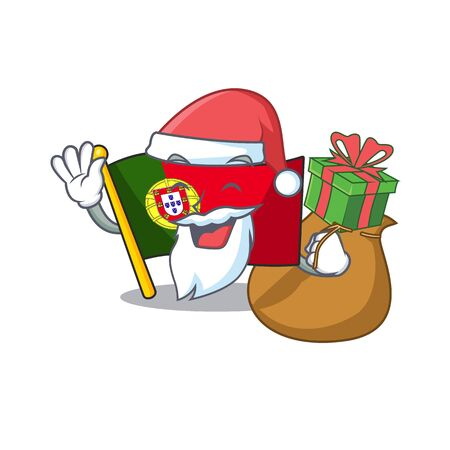 Santa with gift flag portugal isolated in the character Иллюстрация