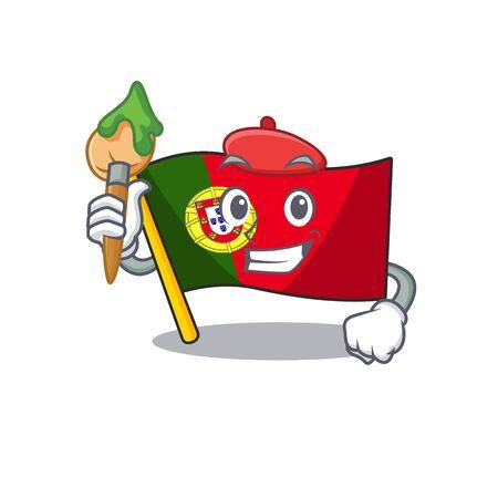 Artist flag portugal character in shape cartoon vector illustration
