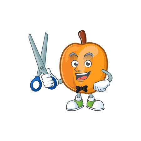 Barber apricot cartoon character for nutritious maskot vector illustration  イラスト・ベクター素材