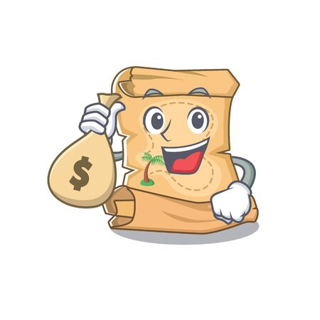 With money bag treasure map in the character shape