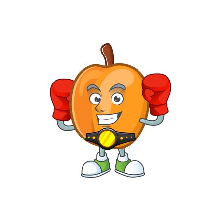 Boxing apricot cartoon character for nutritious maskot vector illustration