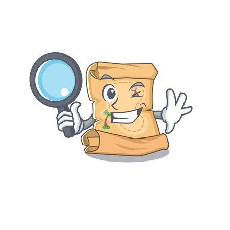 Detective mascot treasure map in character bag