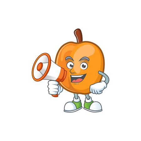 With megaphone apricot cartoon character for nutritious maskot vector illustration  イラスト・ベクター素材
