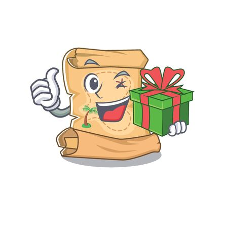 With gift treasure map cartoon in shape character vector illustration Ilustração