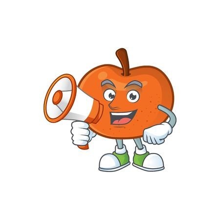 With megaphone fresh tangerine juicy in cartoon character. vector illustration