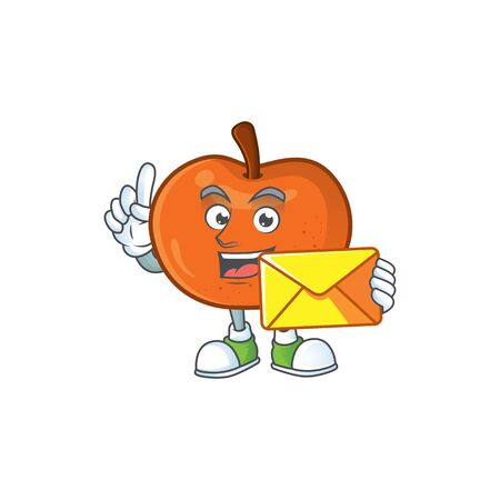 With envelope tangerine sweet in the cartoon shape vector illustration