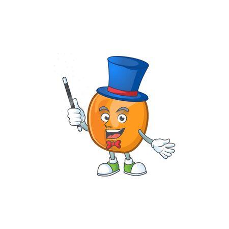 Magician apricot fruit in the cartoon shape vector illustration Ilustrace