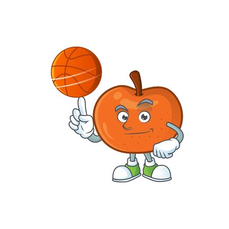 With basketball fresh tangerine juicy in cartoon character. vector illustration
